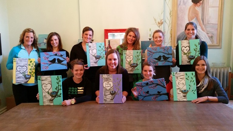 Kristen Berning, Alexia Oetken, Dubuque Dental Team, Sarah Barnes, Create It, Paint Party